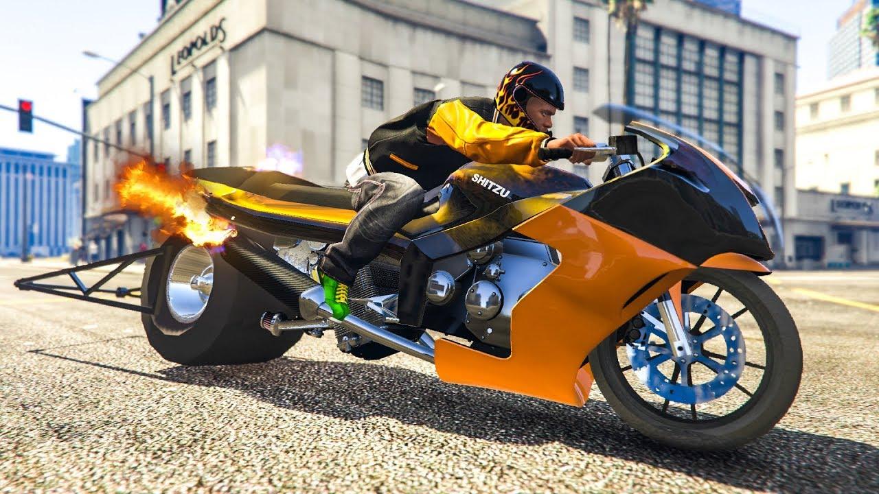 THE FASTEST MOTORBIKE IN GTA 5! - (GTA 5 Dragster Bike Mod)