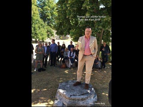 9,5 teser av Thomas Gur tal på en sten Pop-up utanför Visby Domkyrka, Almedalen 2018