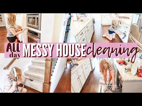 ALL DAY MESSY HOUSE CLEANING! | EXTREME CLEANING MOTIVATION | CLEAN WITH ME | SAHM