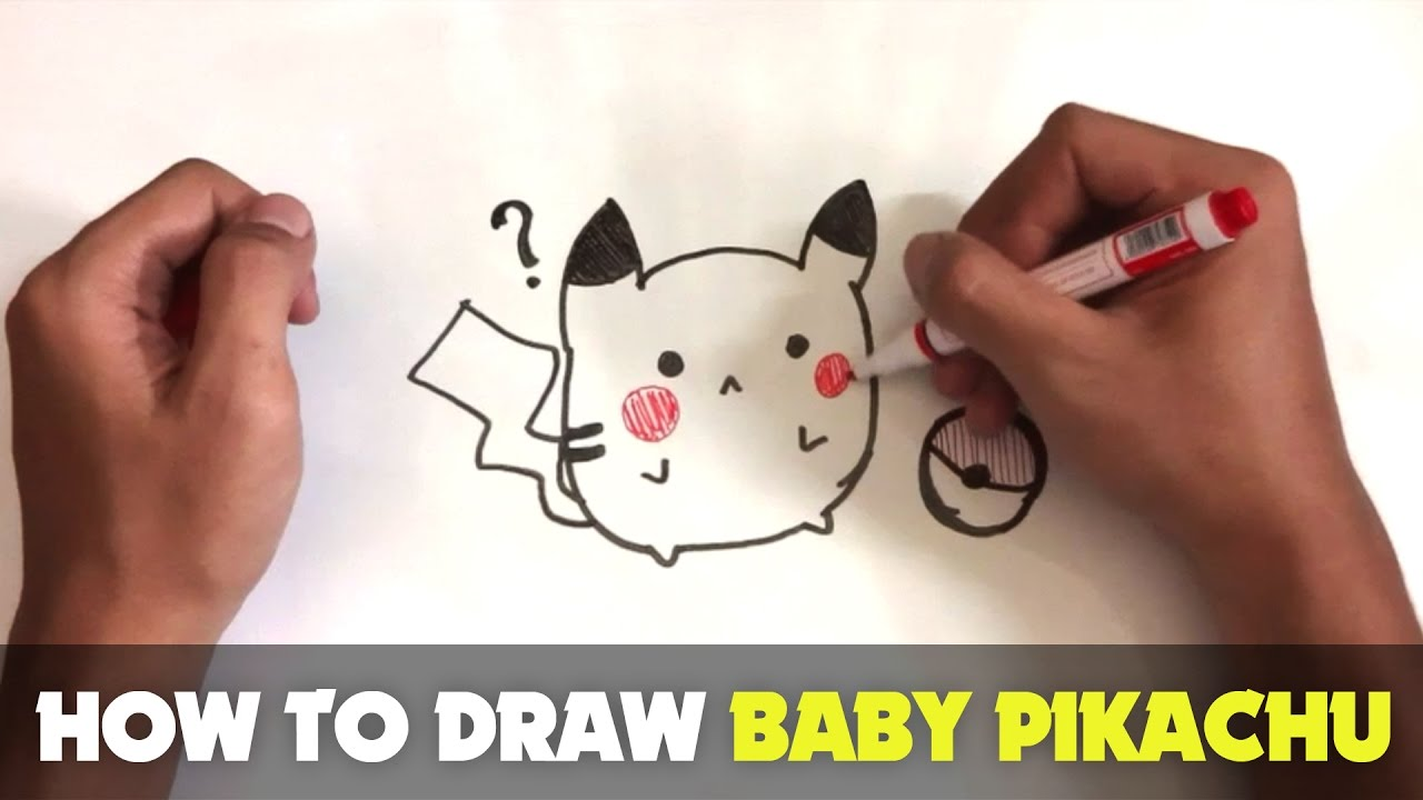 How To Draw A Cartoon   Baby Pikachu (Tutorial Step By Step)
