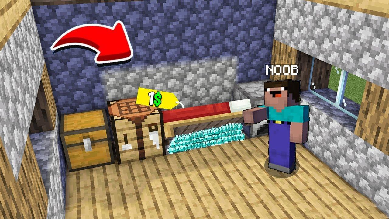NOOB FOUND SECRET TREASURES UNDER BED in Minecraft!