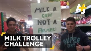 Farmers Clear Milk off the Shelves in Supermarket Protest