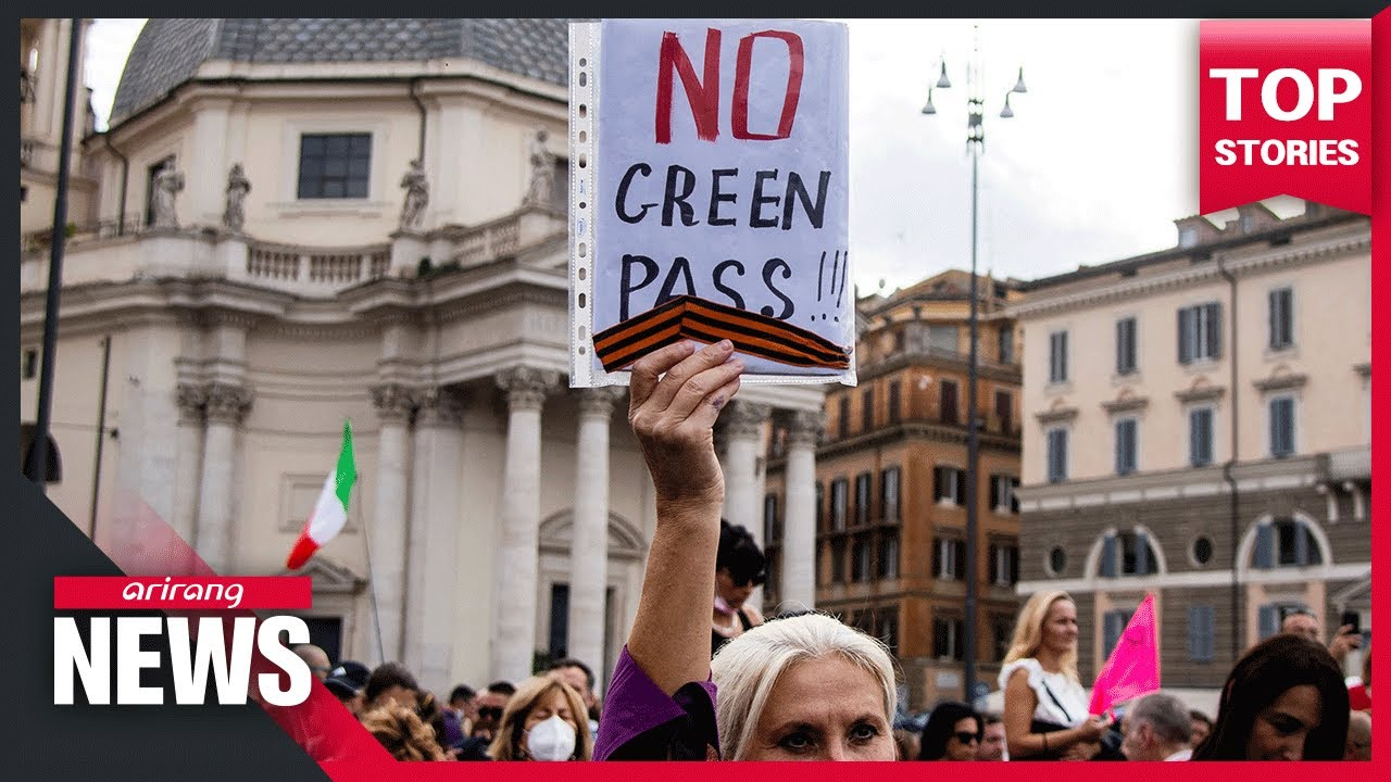 Thousands in Rome protest 'Green Pass' mandate for workers