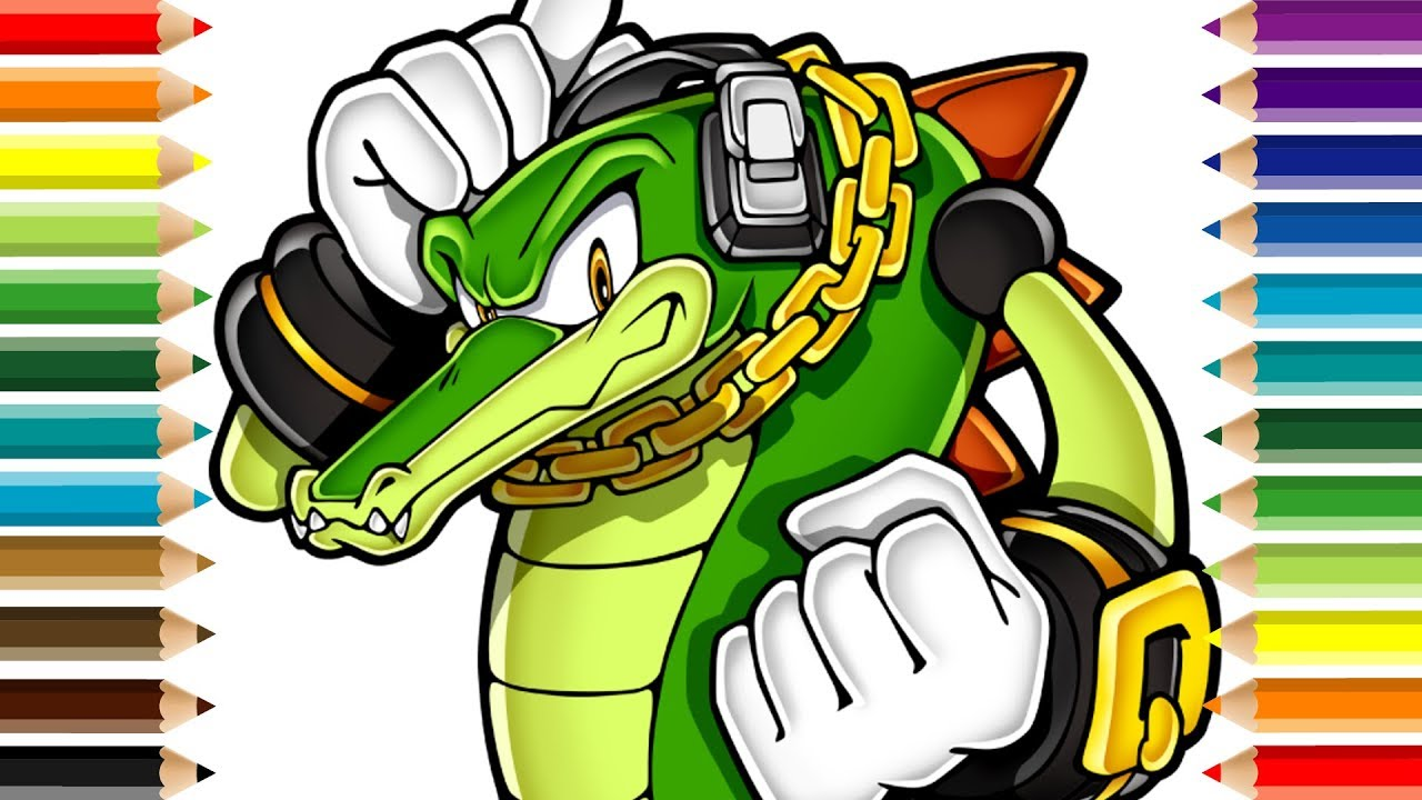 Vector The Crocodile Sonic Coloring And Drawing Page For Kids Youtube