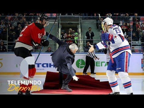 Mourinho se pasa al hockey sobre hielo y sufre una tremenda caída