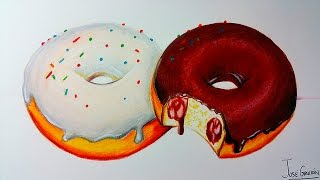Como Dibujar Donas / Donuts Realista Con Lapices de Colores | How to draw donuts | ArtQuit Draw