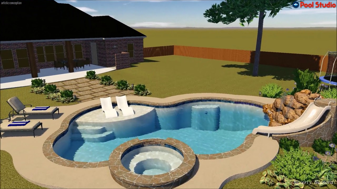 Platinum Pools The Greenway Family Pool Spa Rock Waterfall Slide Design Created By Beverly B Youtube
