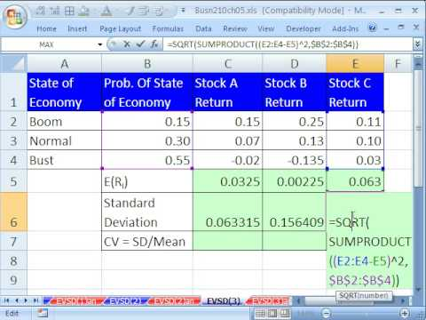 Excel statistics 61 stock expected return standard deviation excel statistics 61 stock expected return standard deviation probability youtube ccuart Images