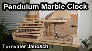Pendulum Rolling Ball Clock (en). Homemade 100% Mechanical Marble Machine Clock.