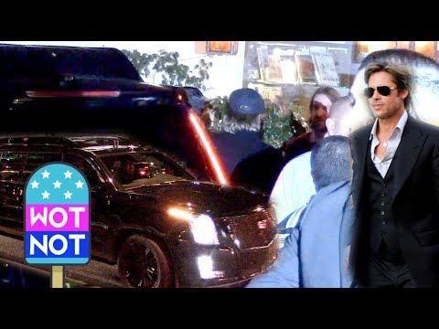 Brad Pitt Arrives at Jennifer Aniston's Star Studded 50th Birthday Party
