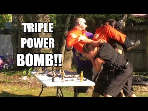 TRIPLE POWERBOMB THROUGH A TABLE! Epic Backyard Wrestling ACTION!