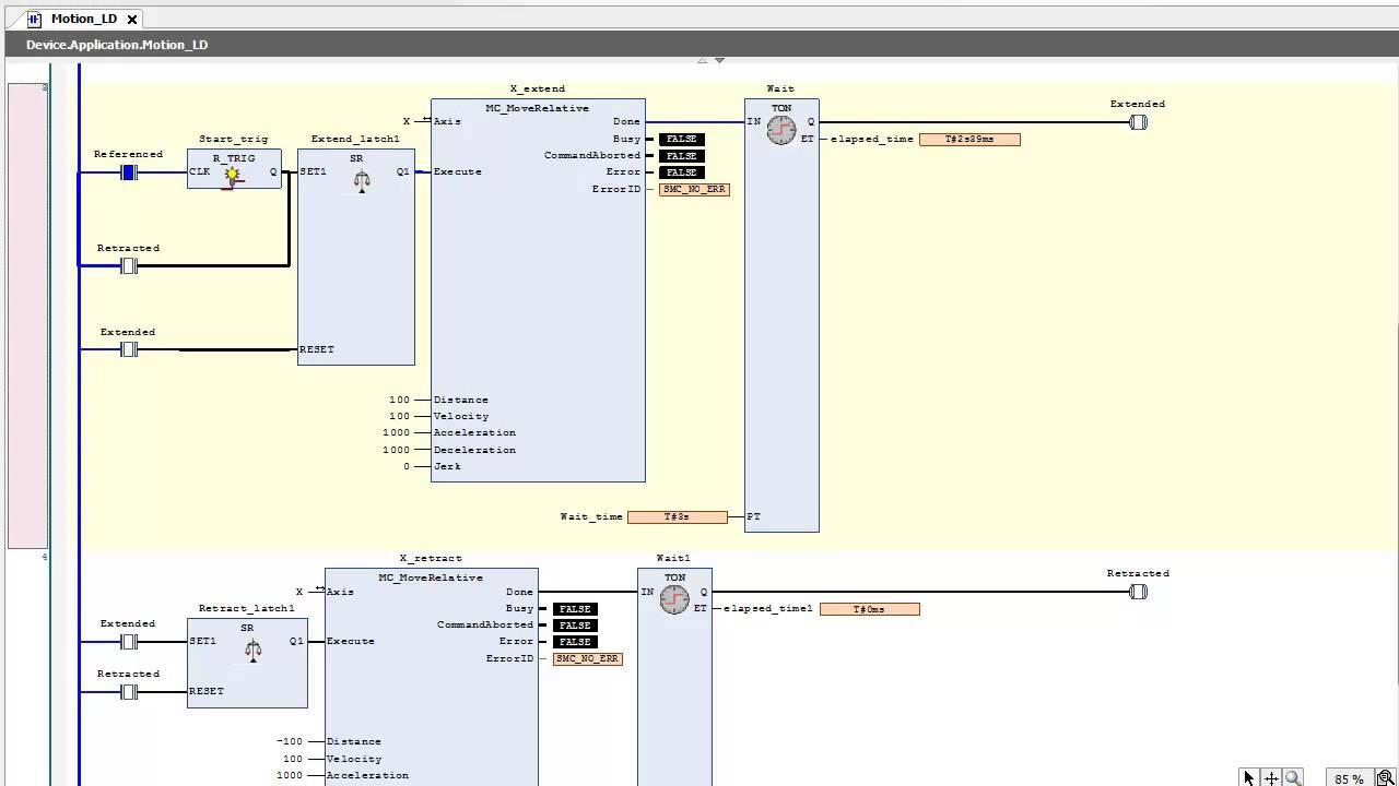 Sample Plc Program Ladder Logic Ld Basic Motion Youtube