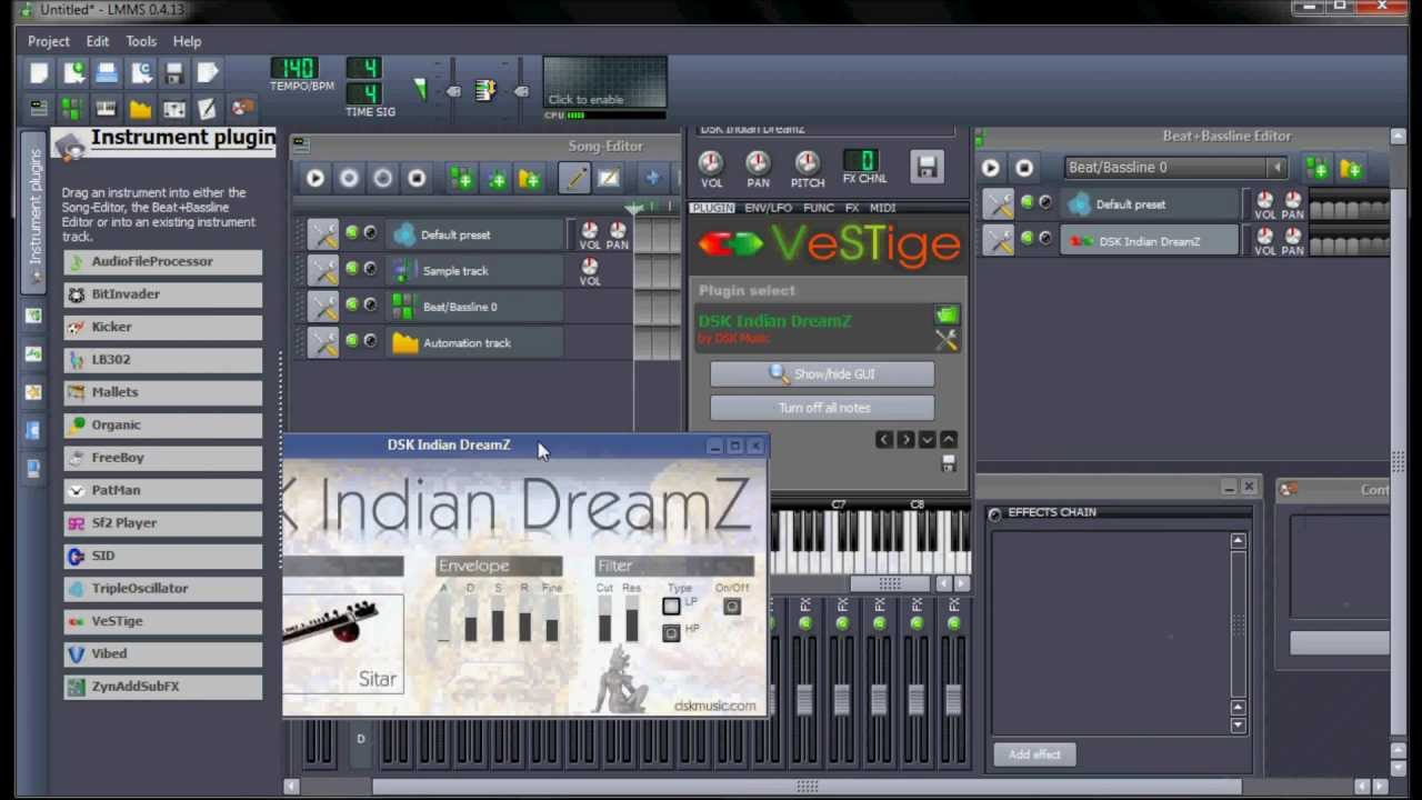 lmms tutorial. how to use vst plugins. make indian instrumental song