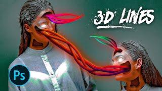 """""""Monsters Inside"""" - Fantasy Photoshop Manipulation (Episode 80 - 3D Lines )"""