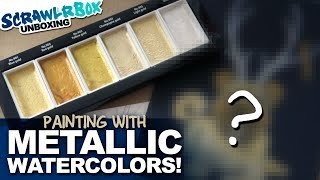 Painting with METALLIC WATERCOLORS on my bed | SCRAWLRBOX UNBOXING