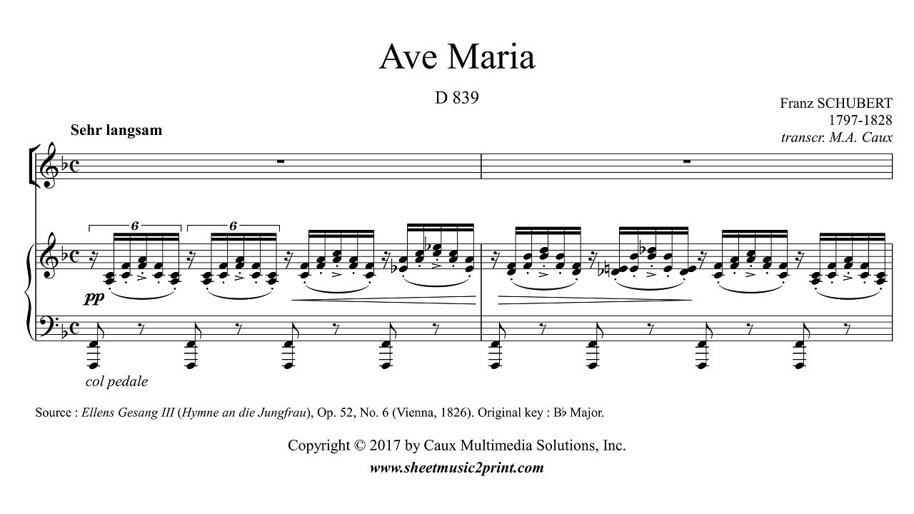 Schubert Ave Maria F Major Youtube