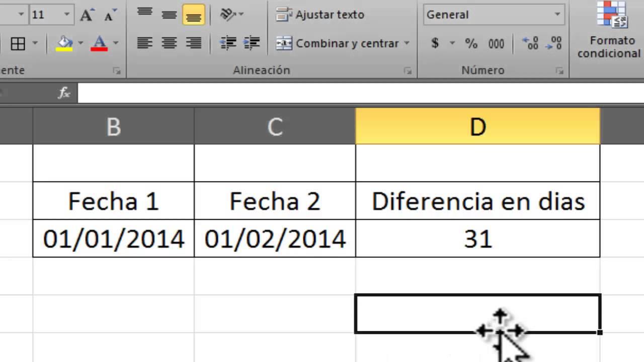 Excel Saber Días Entre Dos Fechas Con Formula Youtube