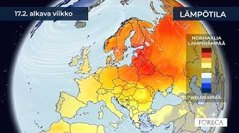 Kuukausiennuste lämpötiloista 28.1.2020