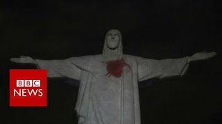 Rio's Christ statue gets a beating heart - BBC News
