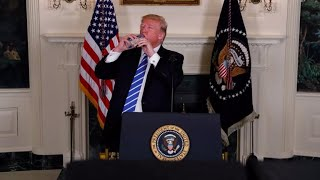 Trump pauses during address to sip on water