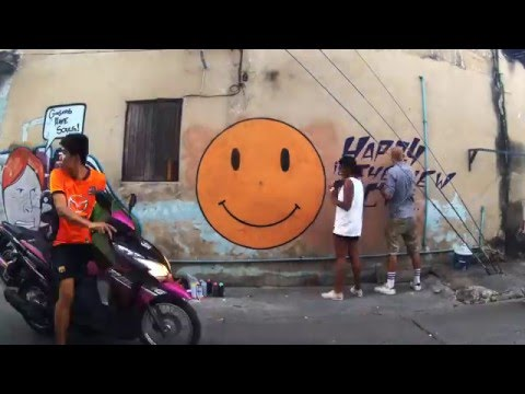 """Happy is the new rich"" graffiti street art timelapse by Grafficil in Bangkok..."