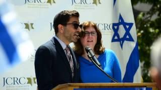 "Rabbi Gil Steinlauf and Rabbi Batya Steinlauf at ""Stand Strong With Israel Rally"""