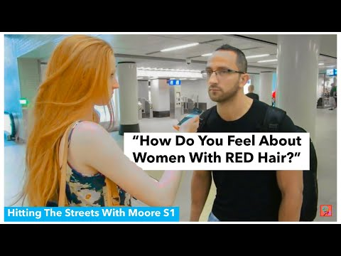 WHAT DO YOU THINK OF WOMEN WITH RED HAIR? | HITTING THE STREETS WITH MOORE | BYELLENMOORE