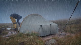 Mountain Camp in tнe Rain and strong winds