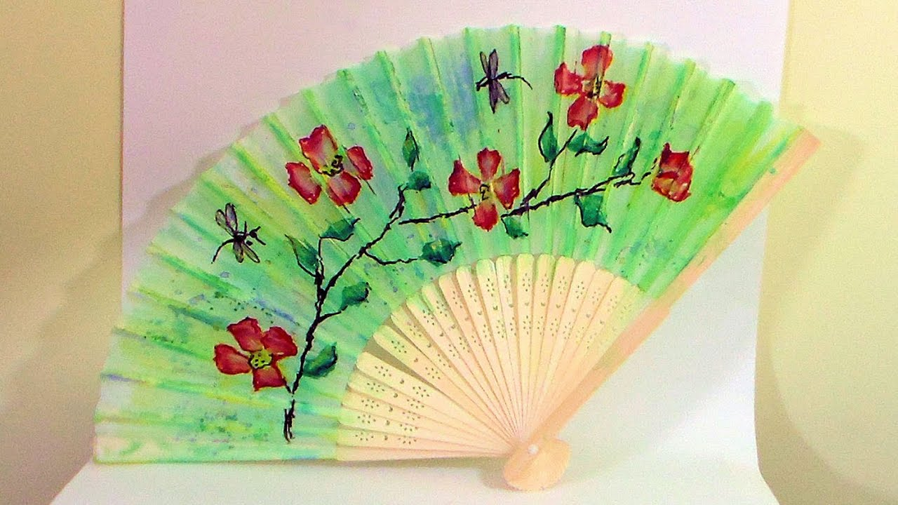 How To Paint a Decorative Fan - YouTube