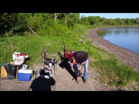 FISHING THE RED RIVER IN WINNIPEG MANITOBA CANADA