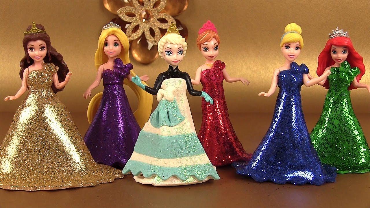Play Doh Sparkle Princesses Elsa Ariel Belle MagiClip Pâte à modeler - YouTube