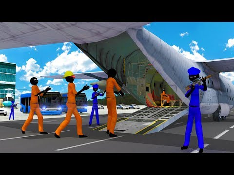 Stickman Prisoner Transport Police Airplane (by Black Cell Studio) Android Gameplay [HD]