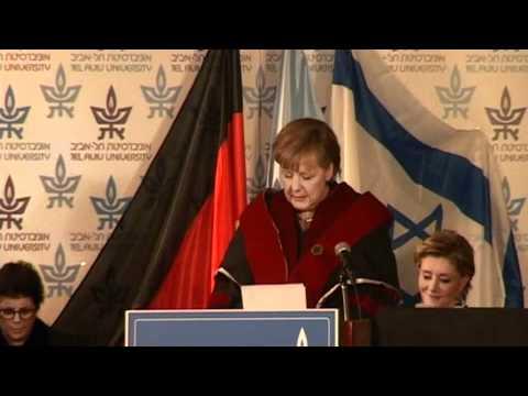 German Chancellor Angela Merkel, receives an honorary doctorate at Tel Aviv University