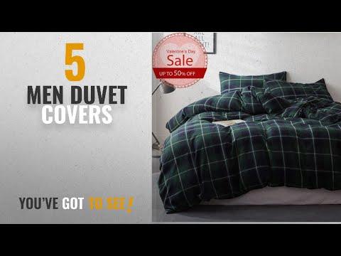 Top 10 Men Duvet Covers [2018]: Luxury Duvet Cover Queen Size Plaid Flannel 3 Pieces Cotton