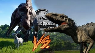 INDOMINUS REX vs SPINOSAURUS?! Dinosaur Battle Theory in Jurassic World: Evolution!!!