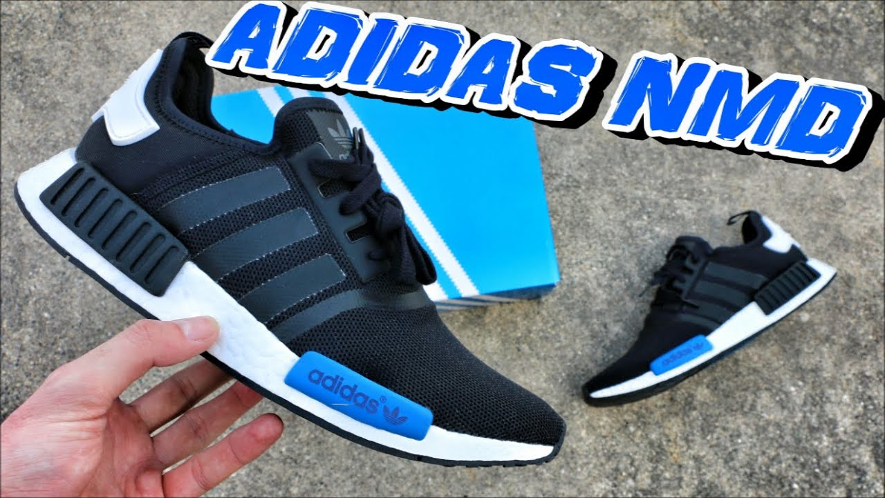 Adidas NMD Runner Black/Blue On Review + On Black/Blue Foot YouTube 22950a
