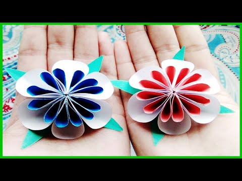 How To Make Tiny Origami Color Paper Flowers | DIY Flower Craft Idea | ZINAT Crafts