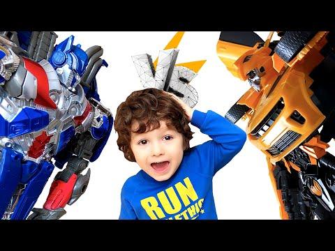 Бамблби и Оптимус Прайм. Видео для детей про трансформеры и роботы игрушки Бамблби и Оптимус