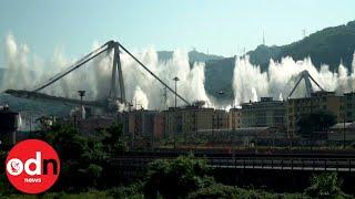 Demolition of Genoa's Morandi Bridge in slow motion