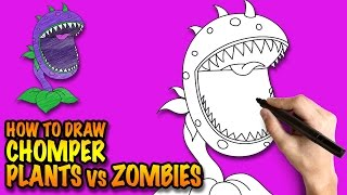 How to draw Plants vs Zombies Chomper - Easy step-by-step drawing lessons for kids