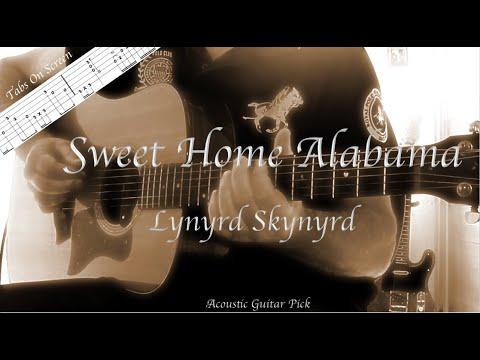 Sweet Home Alabama Lynyrd Skynyrd Instrumental Acoustic Guitar Pick Tabs On Screen Youtube