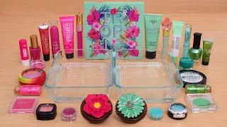 Pink vs Green - Mixing Makeup Eyeshadow Into Slime ASMR 352 Satisfying Slime Video