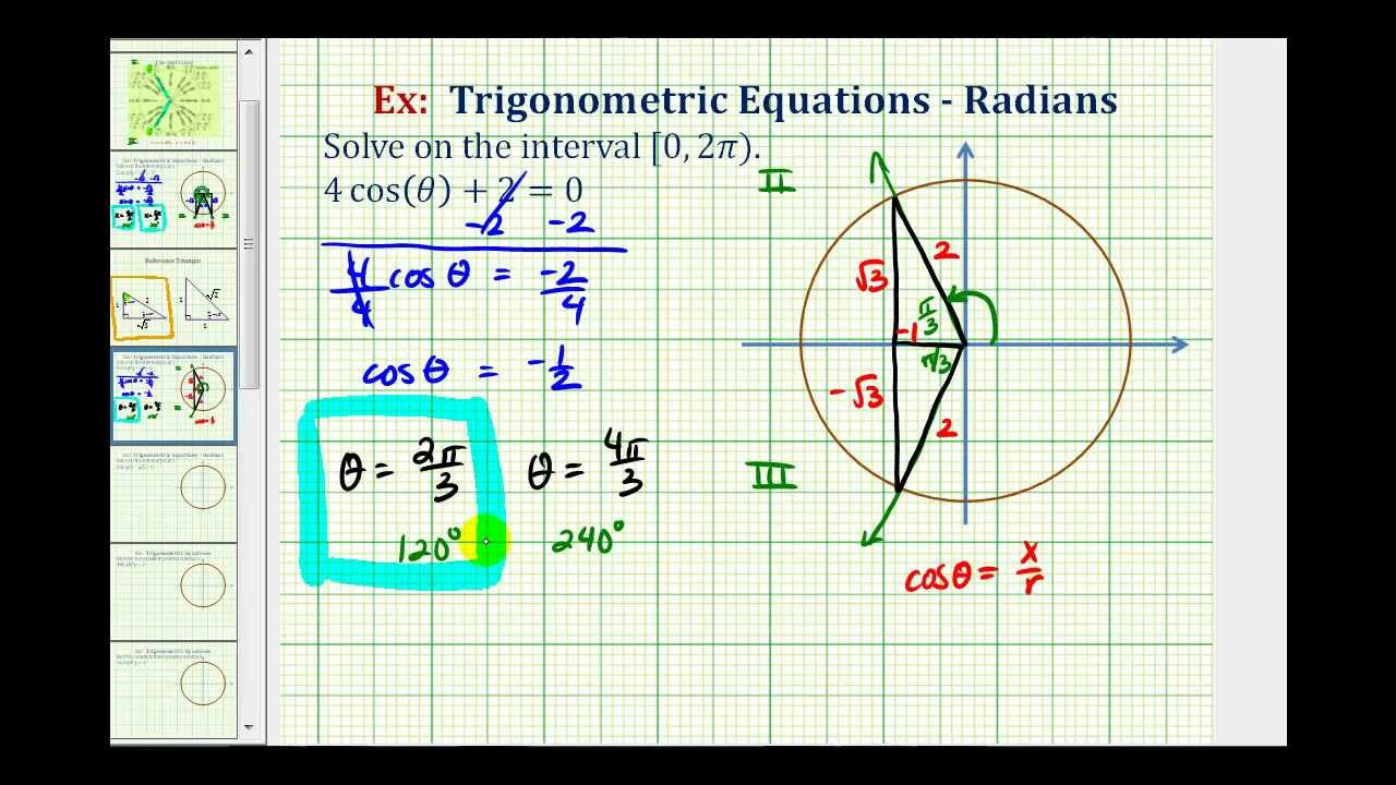 Ex 2 Solve A Basic Trig Equation Using The Unit Circle And
