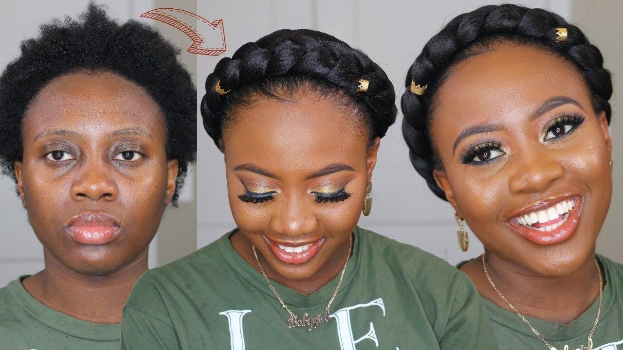 Easy HALO BRAID On Short 9C Natural Hair Using Braiding Hair Tutorial    Hair how to