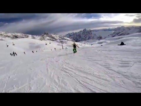 Snowboarding in Zugspitze - Top of Germany, Jan 2016