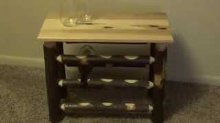 Rustic Hickory Wine Rack Table