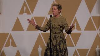 Frances McDormand Oscars Backstage Interview 2018