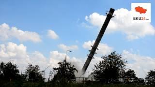 EKU24: Wyburzanie komina przy ul. Szpitalnej (Kutno, 5.08.2016)