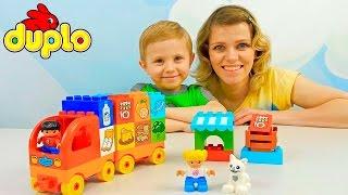 Грузовичок Лего с продуктами - Детские развивающие видео с Даником и его мамой. LEGO DUPLO My First(Лего Дупло (LEGO DUPLO) для самых маленьких выпустили новинку - Это грузовичок с продуктами питания, который..., 2016-03-20T12:54:49.000Z)