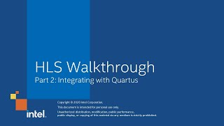 HLS Walkthrough Part 2: Integrating with Quartus